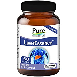 Pure Essence Labs LiverEssence - The World's Best Absorbed Milk Thistle Extract With Synergistic Liver Support Factors - 60 Vegetarian Capsules