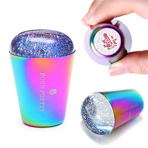 BORN PRETTY Nail Stamper holographic Head colorful Handle Shining Clear Silicone Stamper for Nail Art Stamping Plate