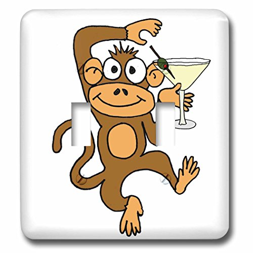 3dRose LSP_275739_2 Funny Cute Dancing Monkey Drinking Martini Cartoon Toggle Switch, Mixed
