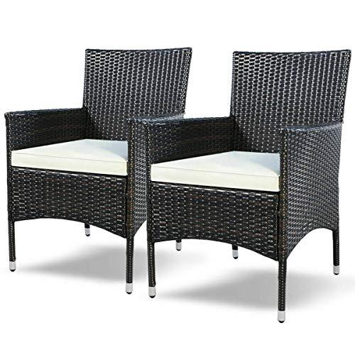 Amazon.com: Heize - Juego de 2 sillas de mimbre para patio o ...
