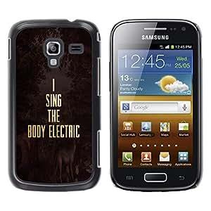 Be Good Phone Accessory // Dura Cáscara cubierta Protectora Caso Carcasa Funda de Protección para Samsung Galaxy Ace 2 I8160 Ace II X S7560M // Music Electric Gold Text Motivational