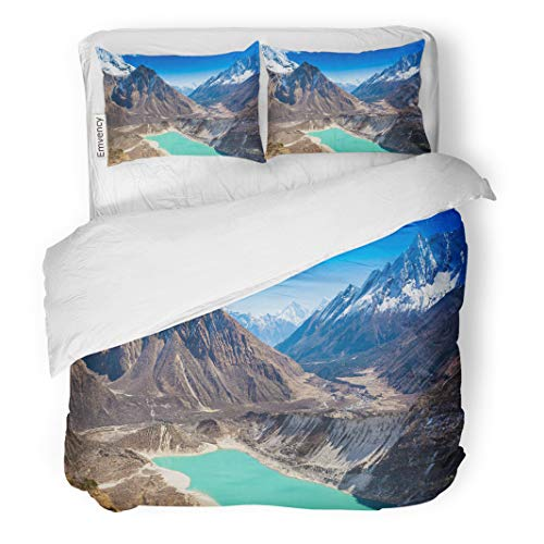 Semtomn Decor Duvet Cover Set Twin Size Blue Landscape Beautiful Mountain View Majestic Lake Himalayas Nepal Scenery 3 Piece Brushed Microfiber Fabric Print Bedding Set -