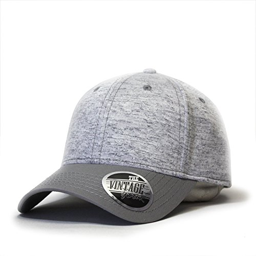 Vintage Year Two Tone Jersey Knit Low Profile Adjustable Baseball Cap (Gray/Heather Gray)