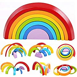 JTianYun Pleasurable Toy - 7-Piece Wooden Rainbow Building Blocks for Adult Mental Healing,Geometry Stacking Learning Toy & Creative Nesting Educational Toys for Baby and Toddlers
