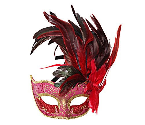 Costume Mask Feather Masquerade Mask Halloween Mardi Gras - Red Masks For Masquerade Ball