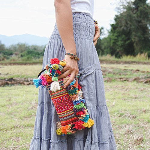 Detail Clutch - Changnoi Vintage Hmong Hill Tribe Embroidered Clutch with Colorful Hairs and Pom Pom for Women, Boho Clutch Bag, Bohemian Purse in Orange