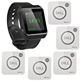 SINGCALL Wireless Restaurant Service Call System,Service Paging System,Pack of 5 Pagers and 1 Watch