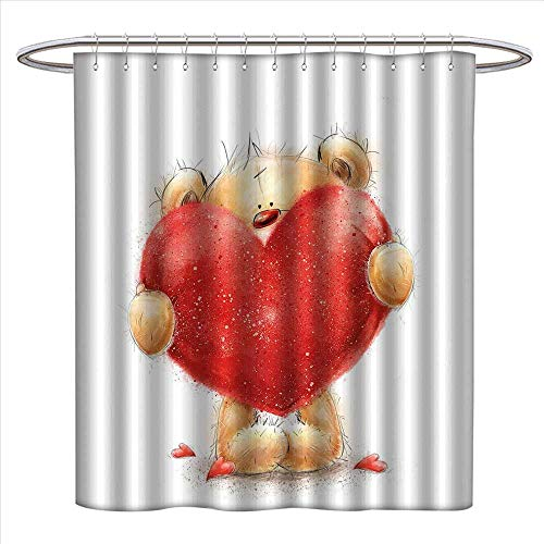 Bear Shower Curtain Collection by Valentines Day Inspired Sweet Teddy Bear Holding a Big Red Heart Love Romance Patterned Shower Curtain W36 x L72 Sand Brown Red (Conrad Lauren Collection)