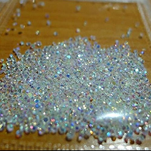 MIOBLET 2880pcs 1.2mm Crystal AB Colour Zircon Rhinestones Flat Back 3D Micro Rhinestone DIY Mini Nail Art Rhinestones Manicure Nail (Back Powder)