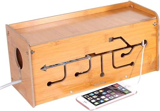 Caja de gestión de cables de bambú, organizador de cables para el ...
