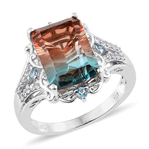 925 Sterling Silver Platinum Plated Octagon Aqua Terra Costa Quartz, Blue Topaz, Zircon Ring Size ()