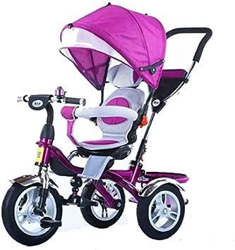 XIUYU Rotación de Triciclo for niños, luz portátil con 0 a 6 años de 360 Grados de la Bicicleta Cochecito de bebé de Cuatro