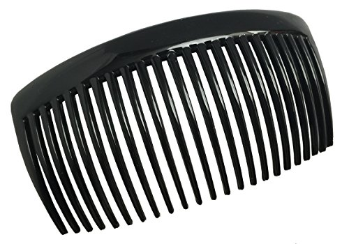 Parcelona French Glossy Black Pair of Large Celluloid Good Grip Updo 23 Teeth Hair Side Combs 4.25 Inches