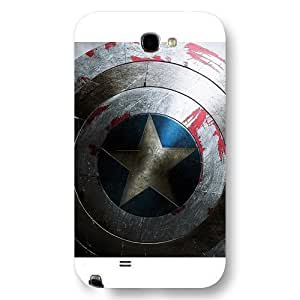 UniqueBox - Customized Personalized White Frosted Samsung Galaxy Note 2 Case, Captain America Shield Samsung Note 2 case, Only fit Samsung Galaxy Note 2