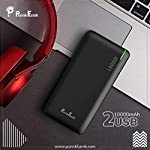 PunnkFunnk Slim91 10000mAh Power Bank with 2 Output Ports, 10W Fast Charging (Black)