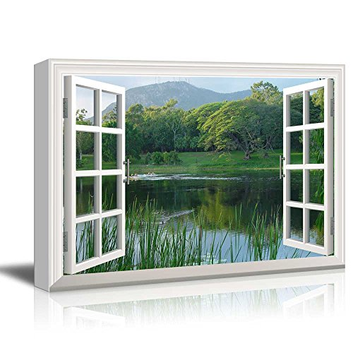 Window wall decor amazon canvas print wall art window frame style wall decor clear lake and green trees giclee print gallery wrap modern home decor stretched ready to hang teraionfo