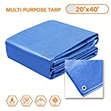 Sunshades Depot 20 x 40 Feet General Multi-Purpose 5 Mil Waterproof Blue Poly Tarp