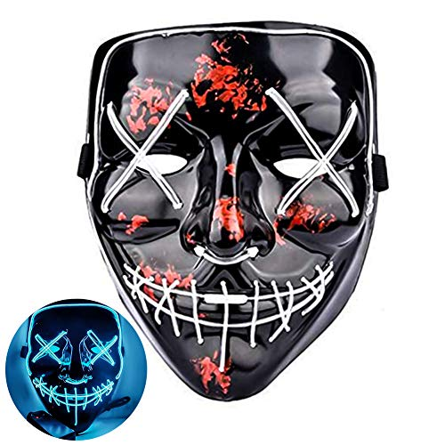 Amberqin Halloween Mask LED Lighted Mask for Festival Cosplay Halloween Costume Party Ball Mask (Multiple Colors Optional) (Ice -