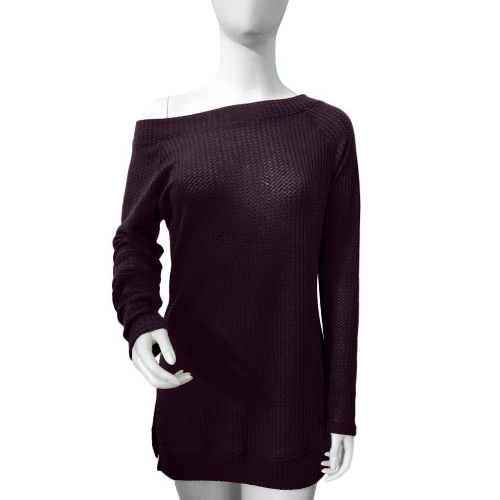 HOSOME Women Spring Knitted Sweater Long Sleeve Solid Blouse Tops