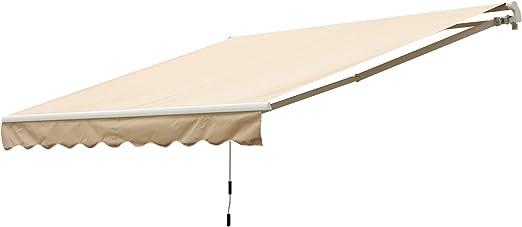 Outsunny Toldo Balcón Terraza Patio Toldo Manual Plegable de Aluminio con Manivela Impermeable Protección Solar UV para Jardín Exterior 2.95x2.5m Aluminio Acero Tela de Poliéster: Amazon.es: Jardín