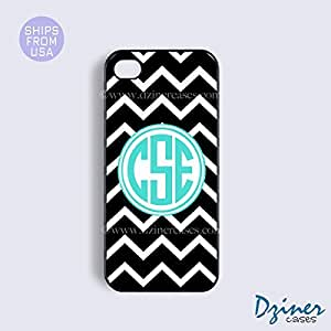 Personalized Your Initials iPhone 4 4s Case - Black White Chevron Turquosie Circle iPhone Cover