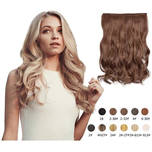 Halo Hair Extensions 20 Inch Long Natural Curly Wavy Synthetic Hairpiece Flip in Hidden Wired Hair Pieces for Women (2/30#)