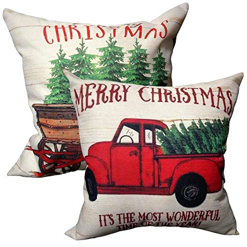 Christmas Throw Pillow Covers 18x18 Inch with Tree and Red Vintage Truck Pattern for Couch Sofa Home Decoration Pillowcases Cushion (Inserts NOT Included) - 2 Packs