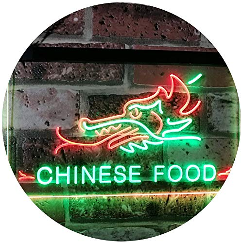 AdvpPro 2C Chinese Food Dragon Décor Dual Color LED Neon Sign Green & Red 12