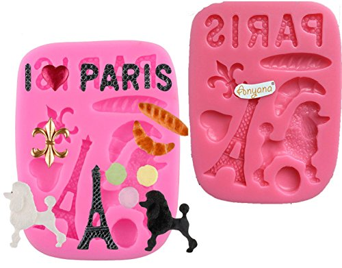 Anyana mini paris Eiffel Tower Poodle fleur de lis mould cake Fondant silicone gum paste mold for Sugar paste fashion party cupcake decorating topper decoration sugarcraft icing biscuit decor