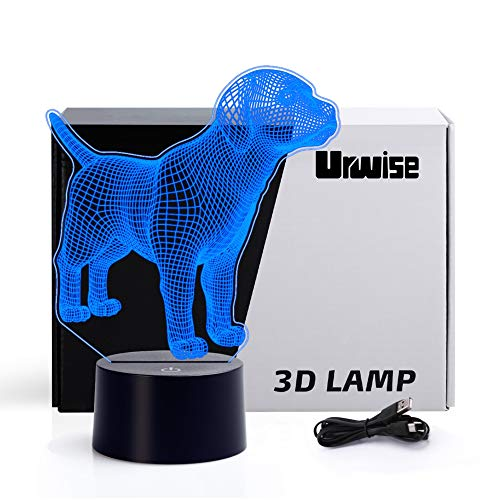 Labrador 3D Optical Illusion Night Lights, 7 Color Variations, Smart Touch Button USB and Battery Power, Amazing Creative Art Designed for Children 4629 (Night Labrador Light)