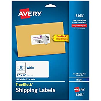 Amazon Avery Shipping Address Labels Inkjet Printers 250