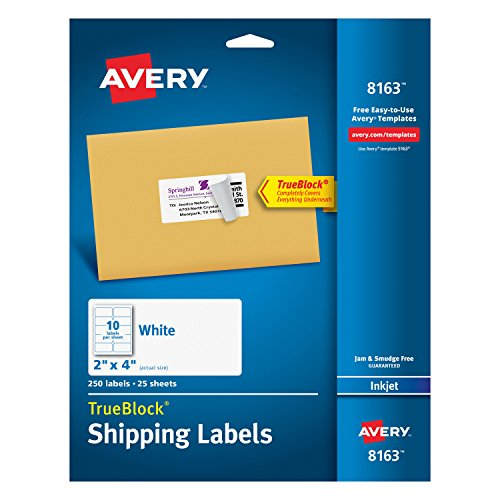 Avery Shipping Address Labels, Inkjet Printers, 250 Labels, 2x4 Labels, Permanent Adhesive, TrueBlock (8163) ()