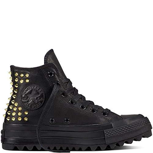 Converse Womens CTAS Lift Ripple Hi Leather Trainers Black Gold