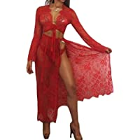 QIYUN.Z Women Lace Long Sleeve Babydoll Lingerie Set Sexy Nightgown Strappy Split Dress See Through Chemise