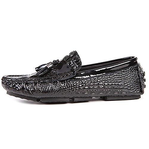 Mocassini Scarpe Moda Driving da Casual Mocassini Luminosi da Oxford Footwear On Black Slip Mocassini Deck Barca da Uomo Uomo Shoe PrnqvTP1