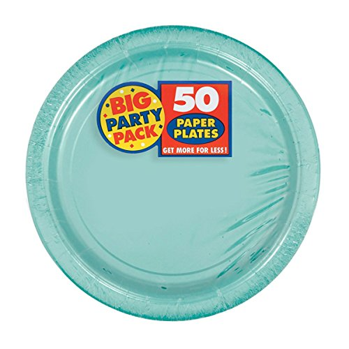 Amscan Robin's Egg Blue Paper Plate Big Party Pack, 50 Ct. ()