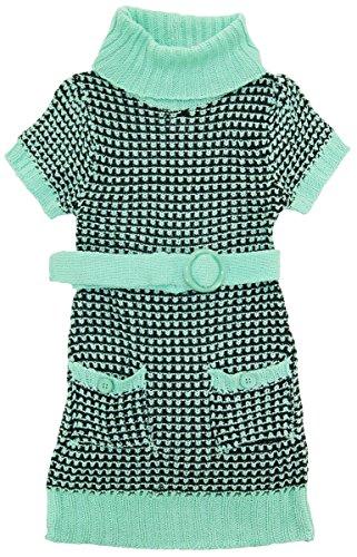 dollhouse Little Girls Short Sleeve Turtleneck Cardigan Sweater with Belt, Mint, 4 - Dollhouse Club