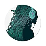 iPrint Polyester Round Tablecloth,Music Decor,DJ Girl Profile with Long Hair in Headphones Nightclub Silhouettes Party Decorative,Dining Room Kitchen Picnic Table Cloth Cover,for Outdoor Indoor