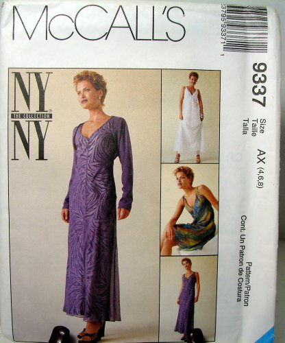 Mccall's Pattern 9337 8, 10, 12 New York Collection Misses Bias Dress in Two Lengths with Attached Slip and Shrug