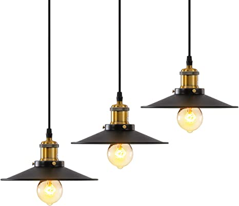Homiforce Vintage Style 1 Light White Pendant Light with Metal Shade in Matte-Black Finish-Modern Industrial Edison Style Hanging for Kitchen Island Close to Ceiling