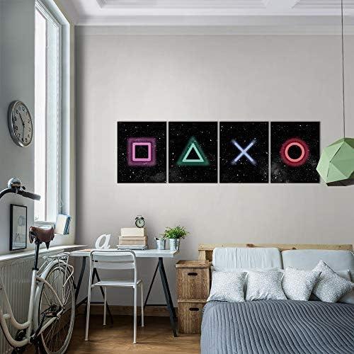 Bilder Spielkonsole Gamer Wandbild 160 x 50 cm Vlies - Leinwand Bild XXL Format Wandbilder Wohnzimmer Wohnung Deko Kunstdrucke Bunt 4 Teilig - MADE IN GERMANY - Fertig zum Aufhängen 023846b 6