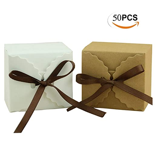 Mengger Cajas para Dulces Regalos Cajita Paper Kraft Carton Bombones Caramelos Navidad Boda Cumpleaños Fiesta Bautizo Graduación con Decoración ...
