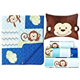 Baby's First by Nemcor Monkey Business, 5-Piece Toddler Bedding Set, Blue/Brown
