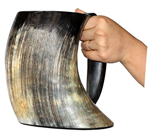 Viking Craft's Drinking Horn Mug Tankard handcrafted and natural finished (Handcrafted Black Horn)