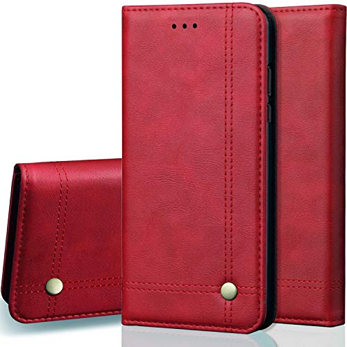 (Case Compatible iPhone XR, SAVYOU Kickstand Feature Flip Folio Leather Wallet Folding Case with Card Slots Magnetic Closure Slim Shockproof Protective Compatible with iPhone XR 6.1