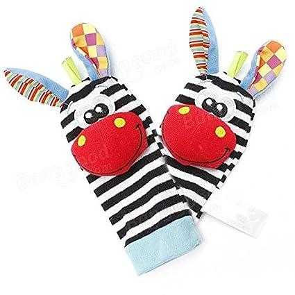 Big Bazaar Bazaar 2pcs bebé calcetines cebra encantadora animales sonajeros juguetes buscadores guante infante pie