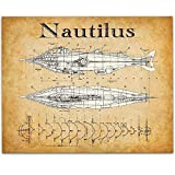 Disney's 20,000 Leagues Under The Sea Nautilus - 11x14 Unframed Patent Print - Great Room Decor or Gift Under $15 for Disney Fans