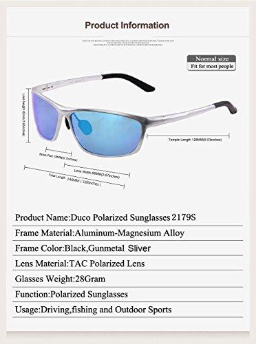 Lunettes de soleil polarisées Duco style sport Lunettes de soleil polarisées pour hommes armature en métal 2179S Argenté - Bleu Miroité