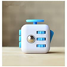 CPEI Mini Fidget Cube Stress Cube, Relieves Stress And Anxiety Toy Fidget Cube fidget spinner (Blue/White, Same Size)