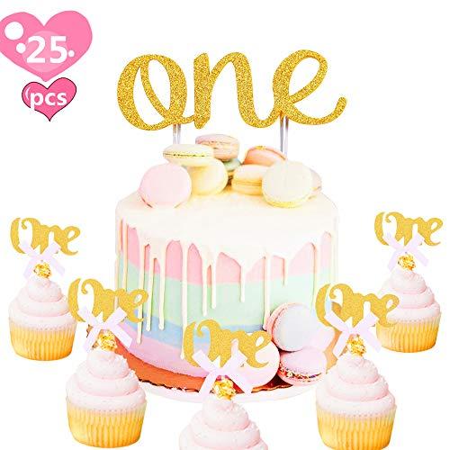 Amazon Com Jevenis 25 Pcs Glitter Gold One Cupcake Topper 1st First